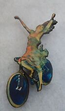 Vintage Style Girl on Bicycle Brooch or Scarf Pin NEW Wood Multi-Color Bike
