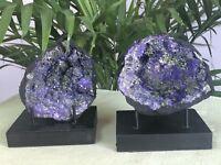 Large Purple Geode Pair Open Crystal Geode Quartz Specimen Morocco Geode.