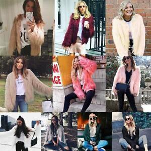 Women Faux Fur Winter Warm Coat Cardigan Jacket Ladies Long Sleeve Outwear Tops