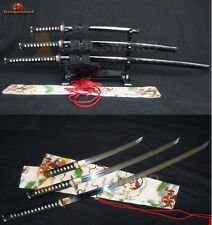 JAPANESE SWORD SET (Katana+Wakizashi+Tanto) T10 STEEL CLAY TEMPERED SHARP BLADE