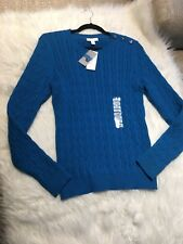 NWT Charter Club Womens L Blue Cable Knit Sweater Shoulder Buttons Decorative