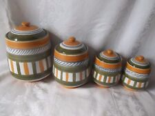 Set of 4 Vintage  Striped Terracotta  Kitchen Canister Set! Italy