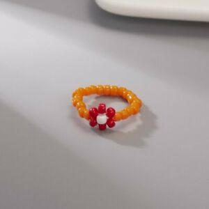 Fashion Boho Flower Colorful Summer Beaded Ring Adjustable Women Jewelry Gifts