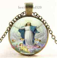Vintage Assumption of Mary Photo Cabochon Glass Dome Bronze Pendant Necklace
