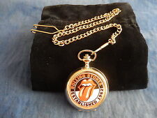 THE ROLLING STONES CHROME POCKET WATCH WITH CHAIN (NEW)  (2)
