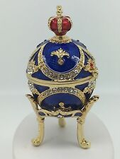 Gold Plated Blue Fabrerge Egg Jewellery Ornament