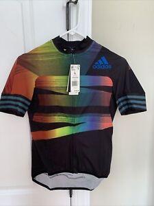 Adidas Cycling  2 ADISTAR  PRIDE JERSEY Black Glow Blue Women's Medium $160 New