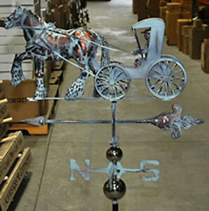 HUGE Handcrafted 3 Dimensional Work Horse Surry Weathervane Copper Patina Finish