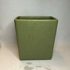 ARCHITECTURAL PLANTER SPECKLED Avacado GREEN POTTERY FLOWER POT MID CENTURY