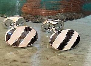 Cufflinks - Genuine RALPH LAUREN Silver Plated Black & White Stripe - England