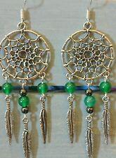 Dreamcatcher Earrings Jade Handmade Sterling Silver Plated Wings Feathers