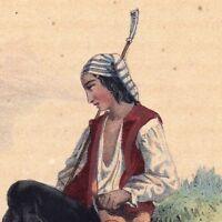 Gravure Romantique 1843 Jeune Pâtre Suisse Uri Mouton Houlette