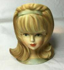"""*Vintage INARCO Head Vase YOUNG LADY E-2967 5 1/2"""" Tall light blue head band"""