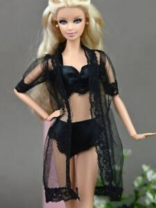 Black Sexy Pajamas LingerieLace Long Coat Doll Night Wear Outfit for Barbie Doll