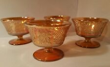 Four Vintage Marigold Federal Carnival Glass Sherbert Cups- Normandie Pattern