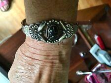 black stone and Sterling Vintage Native American bracelet