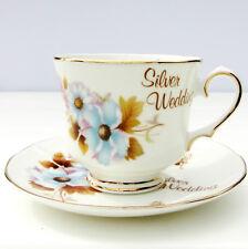 Vintage Bridgedale Bone China Silver Wedding Anniversary Tea Cup Saucer Duo