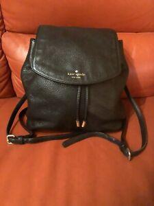 Kate Spade Women's Black Pebbled Leather Medium Backpack Top Flap Drawstring