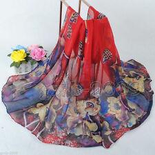 New Women's Fashion Soft red cotton voile Lotus Pattern Shawl Scarf Wrap
