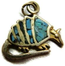 Charm Armadillo Inlaid Turquoise Solid 925 Heavy Patina Vintage Sterling Silver