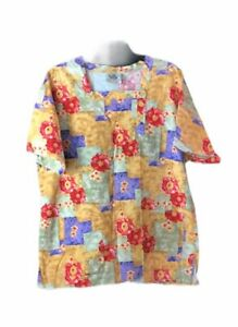 Crest Scrub Top Floral Medium Womens 100% Cotton Colorful Nurse
