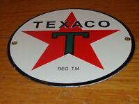 "VINTAGE ""TEXACO GASOLINE REG T.M."" 6"" PORCELAIN METAL OIL LUBESTER MACHINE SIGN!"