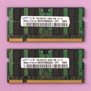 4GB (2x 2GB) DDR2 PC2 6400 800Mhz Samsung 200 Pin SoDimm RAM Laptop NoteBook