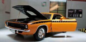 1:24 Echelle 1970 Plymouth Cuda barracuda Orange Voiture Miniature Neuf Ray
