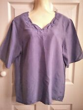 "Vintage ladies SILK shirt top lilac C&A size 38 PIT-PIT 19.5"" (8 10 12 apx)"