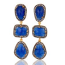 Blue Aventurine Gemstone Earring,18K Gold Plated Fashion Gemstone CZ Jewelry