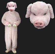 DELUXE PLUSH ADULT SIZE PIG COSTUME piggy mascot sales masks PINK DRESSUP SUIT