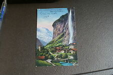 Old Vintage Postcard lauterbrunnen mit staubbach Switzerland Photoglob Zurich