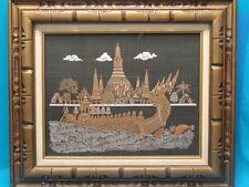 "VINTAGE THAI FRAMED SILK ART ""ROYAL BARGE"" ~ 28"" x 24"""
