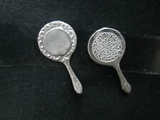 2 Dollhouse Miniature Unfinished metal - hand Mirror #2