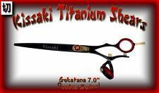 "Kissaki Hair Scissors 7.0"" Gokatana Black Red DOUBLE SWIVEL Hair Cutting Shears"