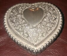 "Vintage Glass Valentines Heart Shape Glass Jar 3 1/4 x 3 1/8"" x 1 3/4"" high"