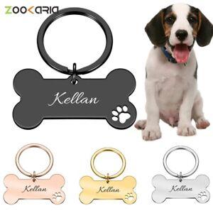 Personaliz Collar Engraved Pet ID Name for Cat Dog Tag Pendant Keyring Bone Pet