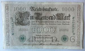 Reichsbanknote - 1000 / Ein Tausend Mark - 1910 - Kaiserreich - Siegel grün