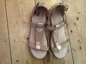 Bared Rose Gold And Tan Sandals  Size 38