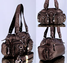 Kleine Handtasche weiß Wochenendtasche mit Außentaschen Umhängetasche AK22032P