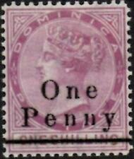 Dominica 1886 QV  1d on 1/- Magenta  SG.19 Mint (Hinged)