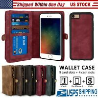 Leather Removable Wallet Magnetic Flip Card Case Cover For iPhone 8 7/6S Plus X