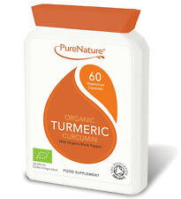600mg Organic Turmeric Curcumin 60 Veg Capsules with Organic Black Pepper