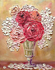 Peonies in a Vase Original Textured oil painting Floral still life 16 x 20 in