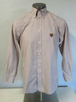 Mens Vintage Faconnable Shirt Size M Long Sleeve Button Front Shield Logo Brown