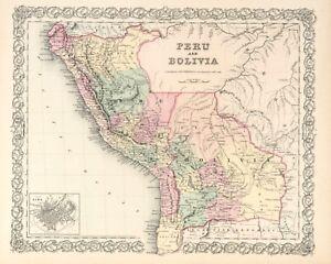 """1861 Colton's  """"Peru & Bolivia""""-original, ex-atlas"""