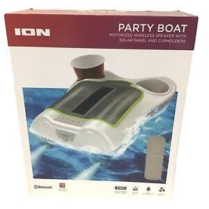 ION Party Boat Motorized Wireless Solar Pool  Speaker Cup Drink holder