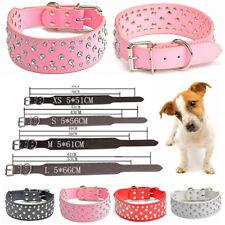 Adjustable Dog Collar Crystal Rhinestone For Puppy Pet Diamond Bling Leather