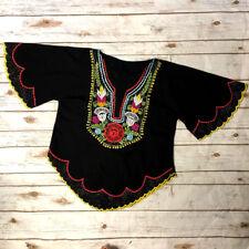 Vtg Kalocsai Style Floral Embroidered Folk Blouse Hungary Folk Style Women's M/L