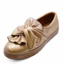Señoras Bronce Plano Sin Cordones Plataforma Zapatos Informales Bombas cómoda Plimsolls UK 3-8